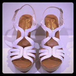 Callista of California White platform wedge shoes